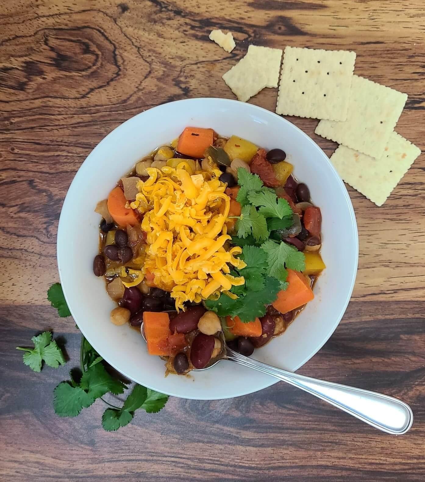 Three-Bean Vegan Chili Recipe